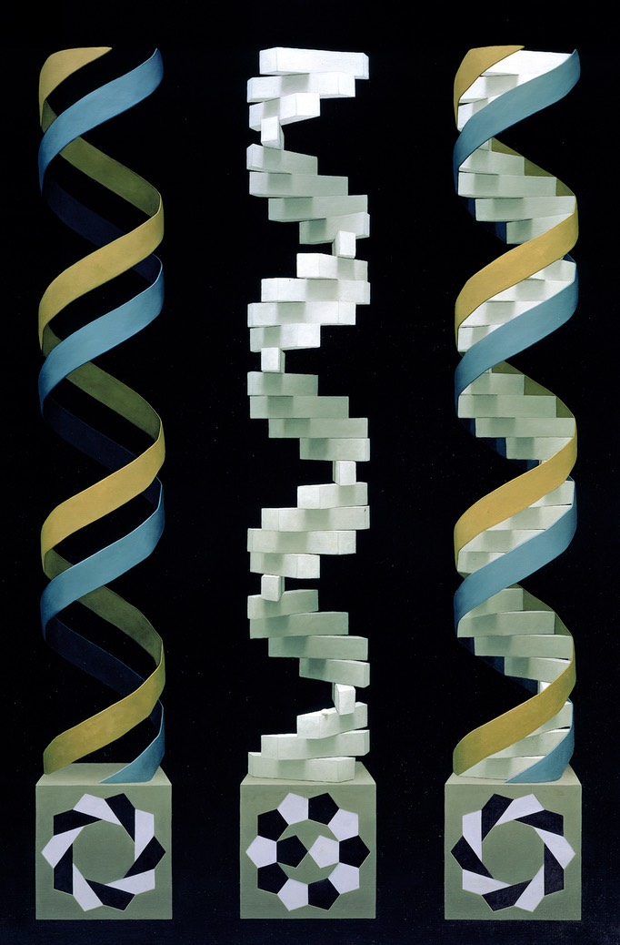 dna blue & yellow painting
